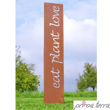 "Gartenstele Edelrost ""EAT PLANT LOVE"""